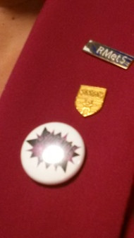 3 of my 4 working identities in badge form: Royal Meteorological Society, University of Reading, and ScienceGrrl